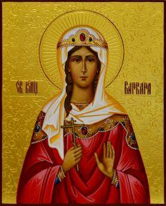Рукописная икона Варвара Илиопольская с резьбой 4