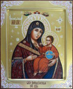 Рукописная икона Вифлеемская с резьбой 3