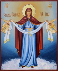 Рукописная икона Покров с Ангелами 11 (Размер 17*21 см)