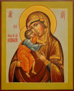 Рукописная икона Феодоровская под старину 7 (Размер 13*16 см)