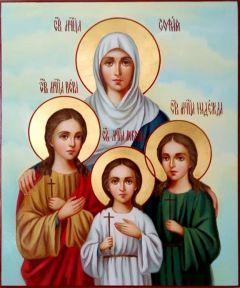 Рукописная икона Вера Надежда Любовь и Мать их София 3 (Размер 21*25 см)