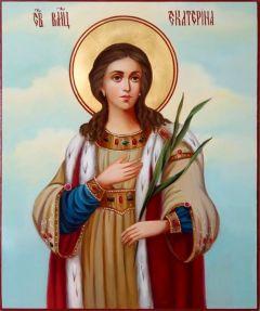 Рукописная икона Екатерина масло