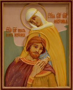 Резная икона Петр и Феврония 22 (Размер 13*16 см)
