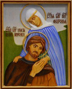 Резная икона Петр и Феврония 23 (Размер 13*16 см)