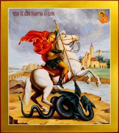 Рукописная икона Чудо Георгия о змие живопись 11