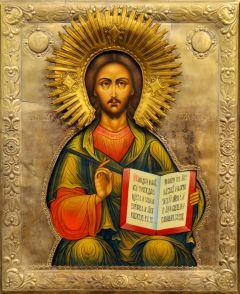 Рукописная икона Спаситель в окладе 19 века (Размер 33*43 см)