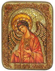 Икона ручной работы Ангел Хранитель с камнями