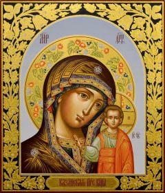 Рукописная Казанская икона с резьбой 19 ( Размер 27*31 см)