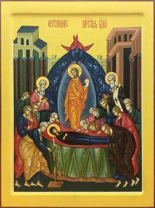 Рукописная икона Успение Богородицы