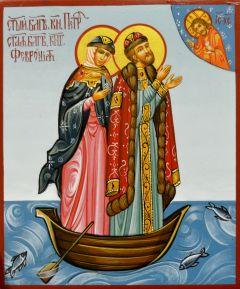 Рукописная икона Петр и Феврония 67 (Размер 9*10.5 см)