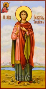 Рукописная икона Пелагея Тарсийская 2 (Размер 13*25 см)