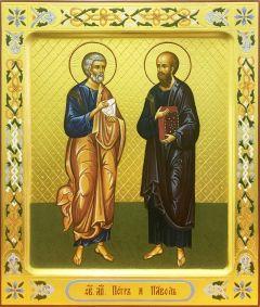 Рукописная икона Петр и Павел 4
