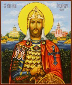 Рукописная икона Александр Невский 7