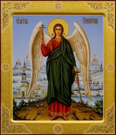 Рукописная икона Ангел Хранитель с резьбой 34 (Размер 27*31 см)