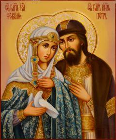 Рукописная икона Петр и Феврония масло 69