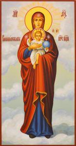 Рукописная икона Валаамская Божия Матерь
