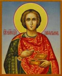 Рукописная икона Пантелеймон Целитель 8