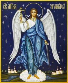 Рукописная икона Ангел Хранитель 35 (Размер 17*21 см)