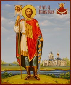 Рукописная икона Александр Невский 13 (Размер 17*21 см)