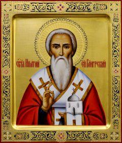 Рукописная икона Ипатий Гангрский с резьбой 2