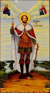 Рукописная икона Александр Невский масло 16 (55*30 см)
