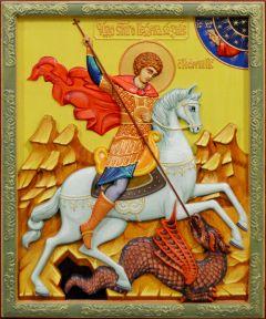 Резная икона Георгий Победоносец 2 (Размер 26*32 см)