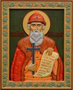 Резная икона Владимир равноапостольный 3 (Размер 26*32 см)