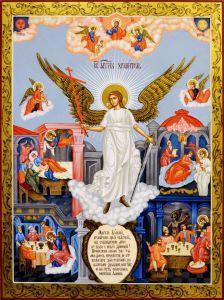 Рукописная икона Ангел Хранитель с клеймами (копия образца 1793 г) (Размер 30*40 см)