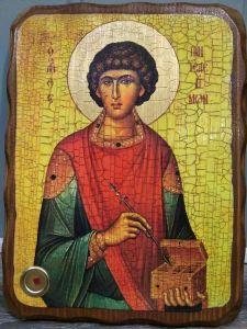 Икона состаренная Пантелеймон Целитель (Размер 18*24 см)