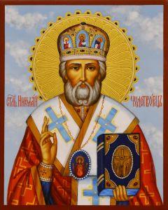 Рукописная икона Николай Чудотворец 34 (Размер 13*16 см)