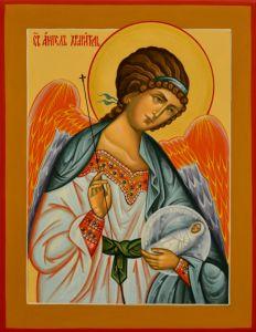 Рукописная икона Ангел Хранитель с Душой праведника (Размер 19*24 см)