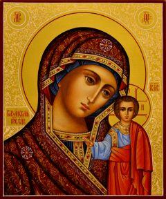 Рукописная Казанская икона с узором 22
