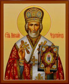 Рукописная икона Николай Чудотворец 35