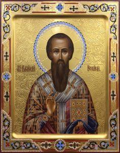 Рукописная икона Василий Великий