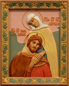 Резная икона Петр и Феврония 24