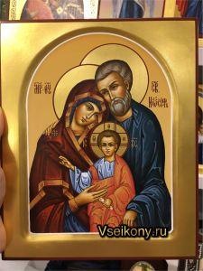 Рукописная икона Святое Семейство 5 (Размер 17*21 см)