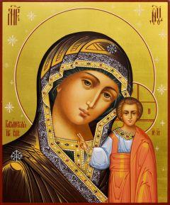 Рукописная икона Казанская со звездами 25 (Размер 17*21 см)