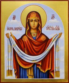 Рукописная икона Покров Богородицы 7 (Размер 17*21 см)