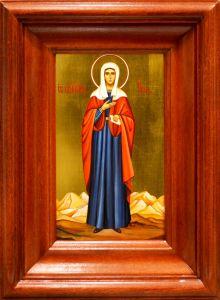 Рукописная икона Ева Праматерь в киоте 4 (Размер 17*26 см)