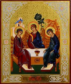 Рукописная икона Святая Троица 13 (Размер 13*16 см)