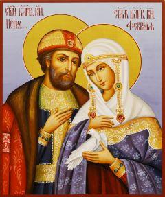 Рукописная икона Петр и Феврония 75 (Размер 17*21 см)