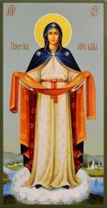 Рукописная икона Покров Пресвятой Богородицы 8 (Размер 13*25 см)