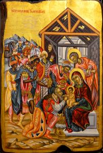 Греческая рукописная икона Дары Волхвов (36*51 см)