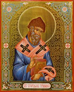 Рукописная икона Спиридон Тримифунтский 14 (Размер 13*16 см)