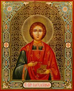 Рукописная икона Пантелеймон 9 (Размер 13*16 см)