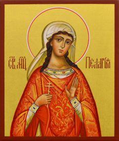 Рукописная икона Пелагея Тарсийская 5 (Размер 9*10.5 см)