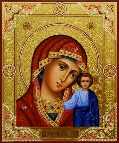 Рукописная Казанская икона с резьбой 27 (Размер 17*21 см)