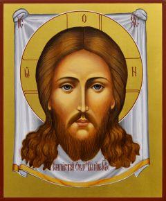 Рукописная икона Спас Нерукотворный 15 (Размер 17*21 см)