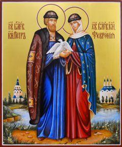 Рукописная икона Петр и Феврония Муромские 42 (Размер 21*25 см)