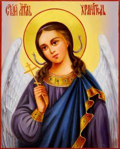 Рукописная икона Ангел Хранитель масло 20